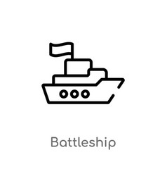 outline battleship icon isolated black simple vector image