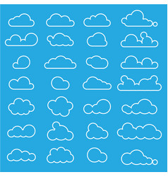 Outline cloud icon set on blue sky vector