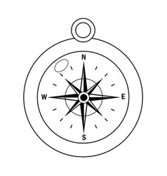 outline compass object exploration and navigation vector image