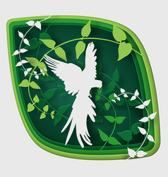 paper art carve to bird on tree branch in forest vector image