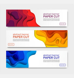 Paper cut banners abstract shapes curved vector