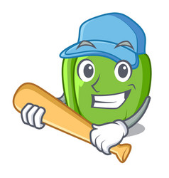 Playing baseball green pepper in the plate vector