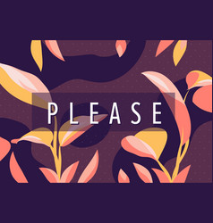 please banner with frame floral vector image
