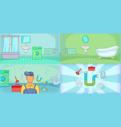 Plumber banner set horizontal cartoon style vector