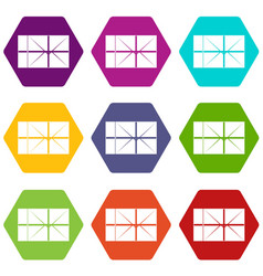 postal parcel icon set color hexahedron vector image