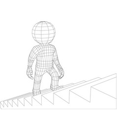 Puppet 3d man walking stairs vector