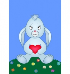 rabbit with heart vector image