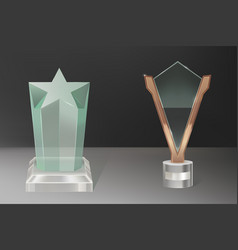 Realistic glass trophy awards vector