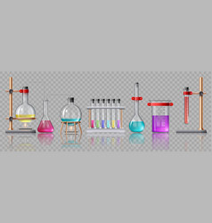 Realistic laboratory equipment glass tubes vector