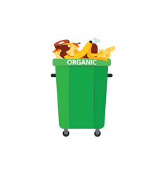 Recycle trash bin for organic garbage in flat vector