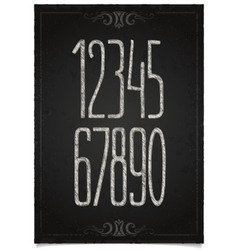 Retro numeric set on black chalkboard vector