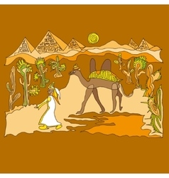 Sahara with camels and dunes vector