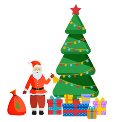 santa claus standing near christmas fir tree vector image
