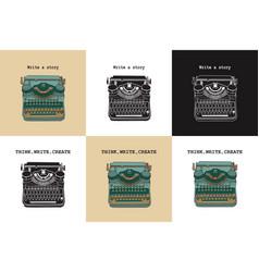 Set 6 vintage cards with typewriters vector