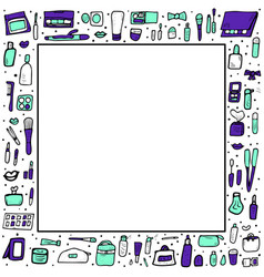 Set of cosmetic items collection of beauty tools vector