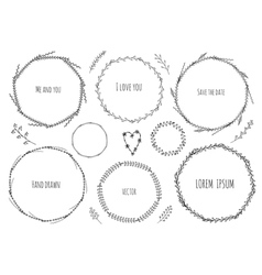 Set of decorative frames with branches vector image