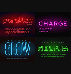 set of glowing neon typefaces alphabets vector image