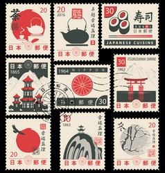 set of old postage stamps with japanese symbols vector image