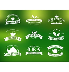 Set of tea logos with ribbons vector image