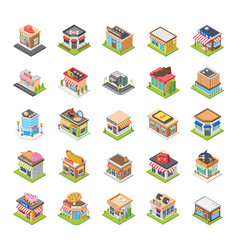 Shopping mall food points flat icons vector