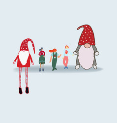 Small people giant gnomes vector