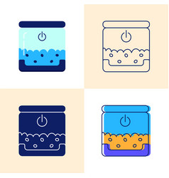 smart pet feeder icon set in flat and line style vector image