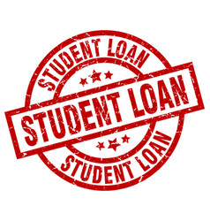 Student loan round red grunge stamp vector