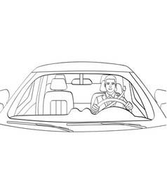 successful businessman in luxury car man driving vector image