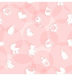 Sweet Seamless Pattern with Baby Items vector image