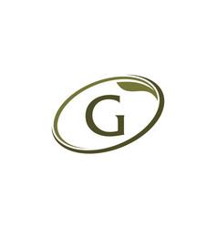 Swoosh leaf letter g vector