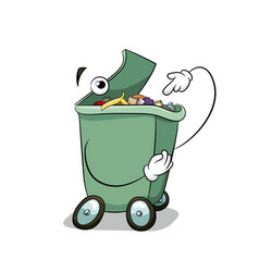 throw garbage in the trash can fun ecology concept vector image