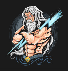 thunder zeus god artwork vector image