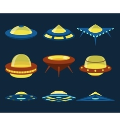UFO spaceships flat icons set vector