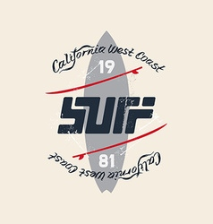 Vintage surfing emblem with original lettering vector