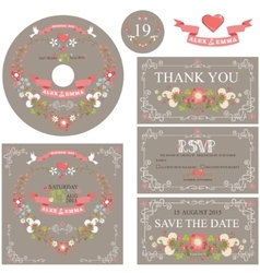 Vintage wedding template set with floral wreath vector image