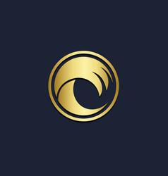 wave ocean water gold logo vector image