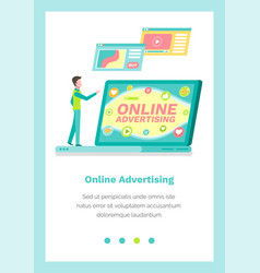 Website landing page template with male character vector