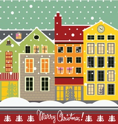 Winter street christmas card vector image vector image