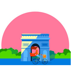 woman on a bicycle in front of the arc de triomphe vector image