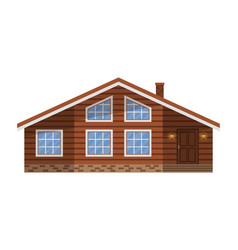 wooden country brown house cottage chalet vector image