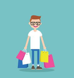Young nerd holding shopping bags flat editable vector