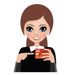 Young woman advertizes a credit card vector