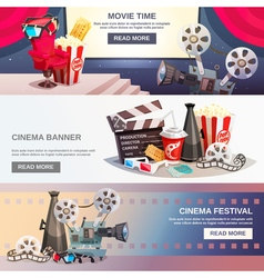Cinematography Flat Horizontal Banners vector image vector image