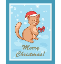 greeting card template with cute cartoon happy cat vector image vector image