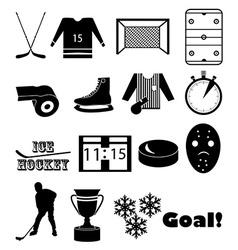 Ice hockey icons set vector image