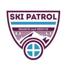 Ski patrol search and rescue label vector