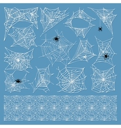 Spider web silhouette set vector image