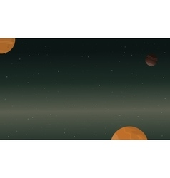 Starry and planet space of landscape vector image vector image