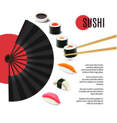 Sushi poster with folding fan vector