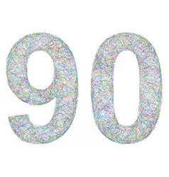 Colorful sketch anniversary design - number 90 vector image vector image
